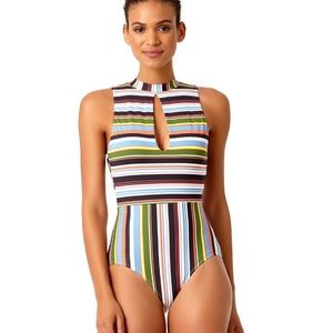 Anne Cole Mock Neck One Piece Swimsuit